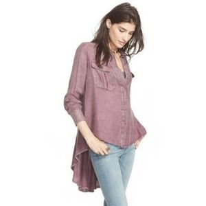 """Free People """"One of the Guys"""" Button Down Tunic"""